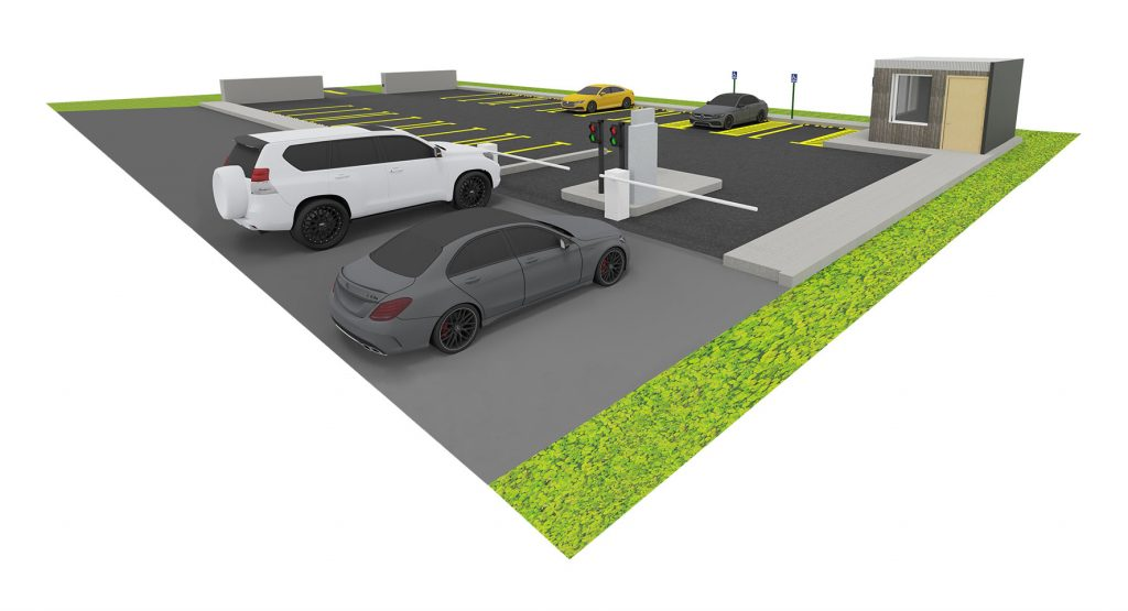 parcheggio con centralina semaforica